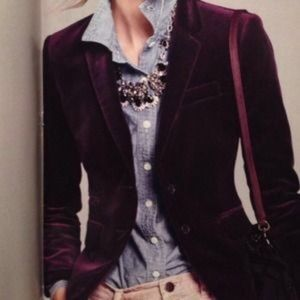 J. Crew Schoolboy Purple Velvet Cropped Blazer